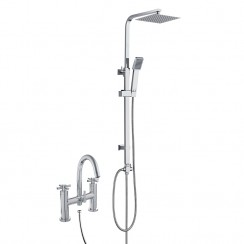 Mayfair Bath Shower Mixer Tap B with 3 Way Round Rigid Riser Rail Kit