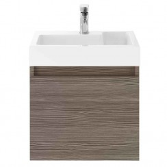 Merit Brown Grey Avola 500mm Wall Hung Vanity unit & Basin