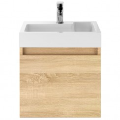 Merit Natural Oak 500mm Wall Hung Vanity unit & Basin