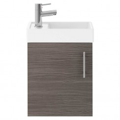 Vault Brown Grey Avola 400mm Wall Hung Cabinet & Basin
