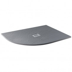 Mineral Slate 1200 x 800mm Offset Quadrant Left hand Low Profile Shower Tray Grid Waste Ash Grey