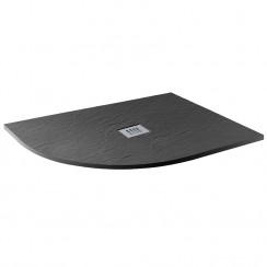 Mineral Slate 1200 x 800mm Offset Quadrant Left hand Low Profile Shower Tray Grid Waste Jet Black