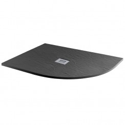 Mineral Slate 1200 x 800mm Offset Quadrant Right hand Low Profile Shower Tray Grid Waste Jet Black
