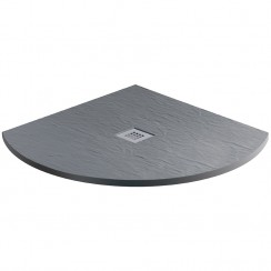 Mineral Slate 800mm Quadrant Low Profile Shower Tray Grid Waste Ash Grey