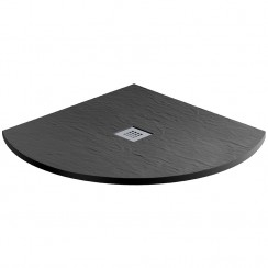 Mineral Slate 800mm Quadrant Low Profile Shower Tray Grid Waste Jet Black
