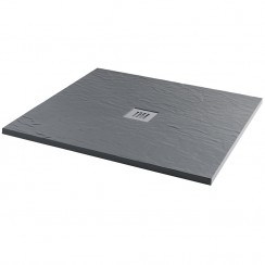 Mineral Slate 900 x 900mm Square Low Profile Shower Tray Grid Waste Ash Grey