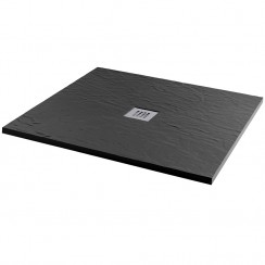 Mineral Slate 1000 x 1000mm Square Low Profile Shower Tray Grid Waste Jet Black