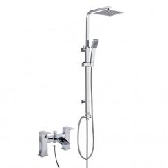 Moat Bath Shower Mixer Tap with 3 Way Square Rigid Riser Rail Kit