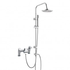 Mona Bath Shower Mixer Tap with 3 Way Round Rigid Riser Rail Kit