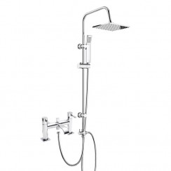 Nassau Bath Shower Mixer Tap with 3 Way Square Rigid Riser Rail Kit