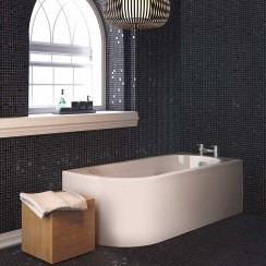 Crescent Corner Bath Back To Wall Bath & Panel RH Lifestyle