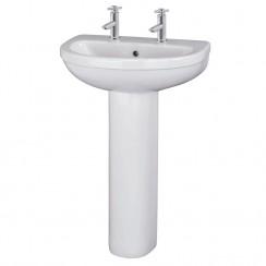 Ivo 550mm Basin & Pedestal (2 Tap)