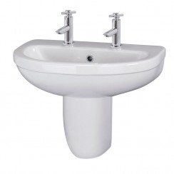 Ivo 550mm Basin & Semi Pedestal (2 Tap)