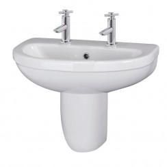 Nuie Ivo 550mm Basin & Semi Pedestal (2 Tap)