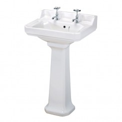 Carlton 600mm Basin & Pedestal (2 Tap Hole)