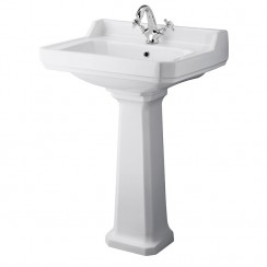 Carlton 600mm Basin & Pedestal (1 Tap Hole)