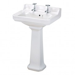 Carlton 560mm Basin & Pedestal (2 Tap Hole)