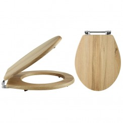 Natural Walnut Carlton Soft Close Traditional Wooden Toilet Seat