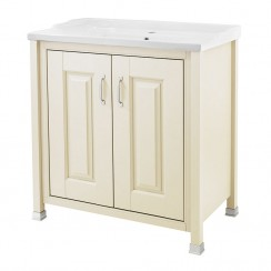 Old London Ivory Traditional 800mm Vanity Cabinet & Basin