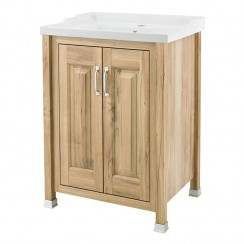 Old London Natural Walnut Traditional 600mm Vanity 2 Door Cabinet & Basin