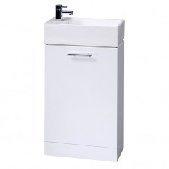 Minimalist Gloss White 480mm Floor Standing Cabinet & Basin