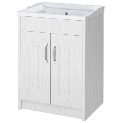 York Porcelain White Ash Floor Standing 600mm Basin & Cabinet