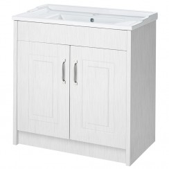 York Porcelain White Ash Floor Standing 800mm Basin & Cabinet