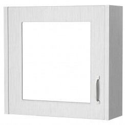 York Porcelain White Ash 600mm 1 Door Mirror Cabinet