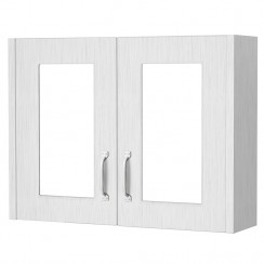 York Porcelain White Ash 800mm 2 Door Mirror Cabinet