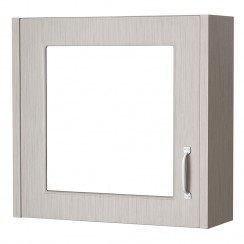 York Stone Grey Woodgrain 600mm 1 Door Mirror Cabinet