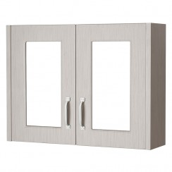 York Stone Grey Woodgrain 800mm 2 Door Mirror Cabinet