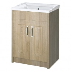York Gladstone Oak Floor Standing 600mm Basin & Cabinet