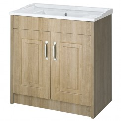 York Gladstone Oak Floor Standing 800mm Basin & Cabinet