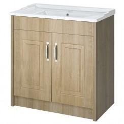 York Gladstone Oak Floor Standing 800mm Basin & Cabinet