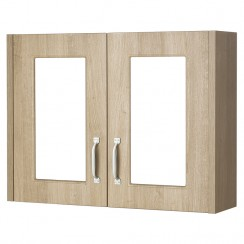York Gladstone Oak 800mm 2 Door Mirror Cabinet