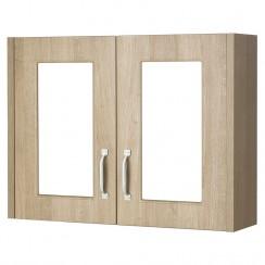 York Gladstone Oak 800mm 2 Door Mirror Cabinet