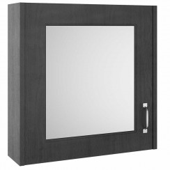 York Royal Grey Woodgrain 600mm 1 Door Mirror Cabinet