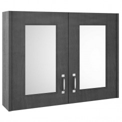 York Royal Grey Woodgrain 800mm 2 Door Mirror Cabinet