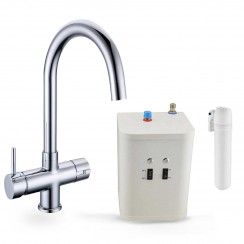 Omega 3 Way Instant Hot Water Kitchen Tap Complete Unit - Chrome