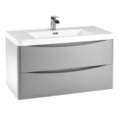 Pebble Grey 900mm Wall Cabinet 2 Drawer Unit & Basin