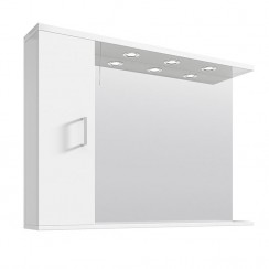 Mayford Gloss White 1050mm Mirror With Lights & Cabinet