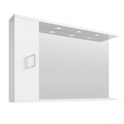 Mayford Gloss White 1200mm Mirror With Lights & Cabinet