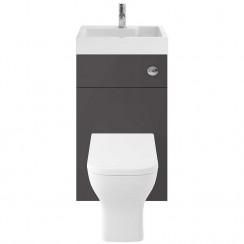 Athena Gloss Grey 500mm Floor Standing WC & Vanity unit