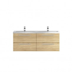 Quartet Natural Oak Wood 1440mm Double Cabinet & Basin