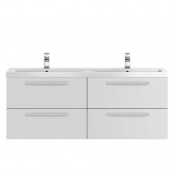 Quartet Grey Gloss Mist 1440mm Double Cabinet & Basin