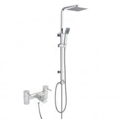 Quest Lever Bath Shower Mixer Tap with 3 Way Square Rigid Riser Rail Kit