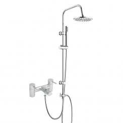 Quest Lever Bath Shower Mixer Tap with 3 Way Round Rigid Riser Rail Kit