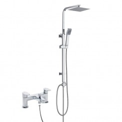 Ratio Bath Shower Mixer Tap with 3 Way Square Rigid Riser Rail Kit
