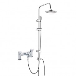 Ratio Bath Shower Mixer Tap with 3 Way Round Rigid Riser Rail Kit