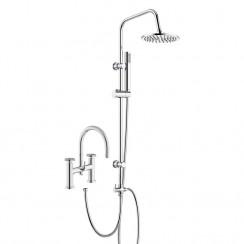 Revolution Bath Shower Mixer Tap with 3 Way Round Rigid Riser Rail Kit